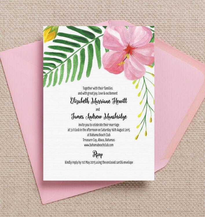Tropical Flower Destination Wedding Invitation from £1.00 each