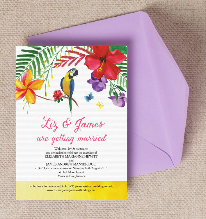 Tropical paradise wedding invitation from each for Tropical wedding invitations