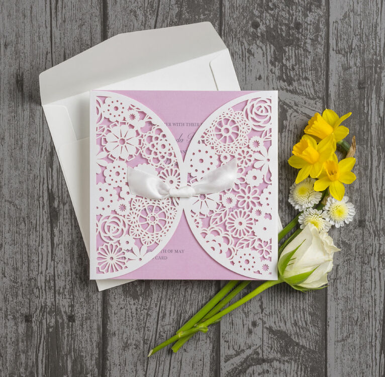 Vintage Lace Laser Cut Personalised Wedding Invitation from £1.75 each