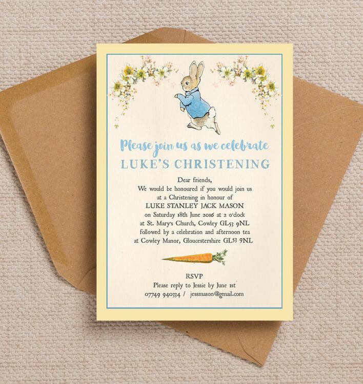 Peter Rabbit Christening / Baptism Invitation from £0.80 each