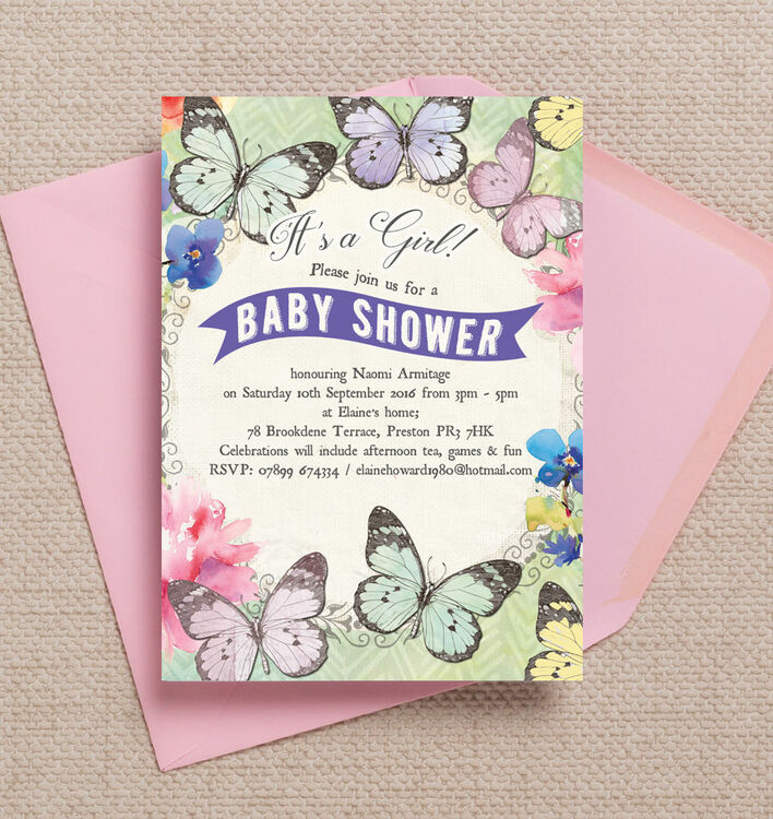 Butterfly Garden Baby Shower Invitation from £0.80 each