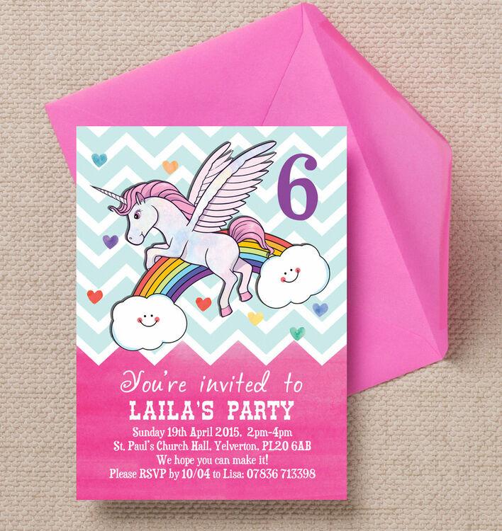 Rainbow Unicorn Party Invitation from £0.80 each