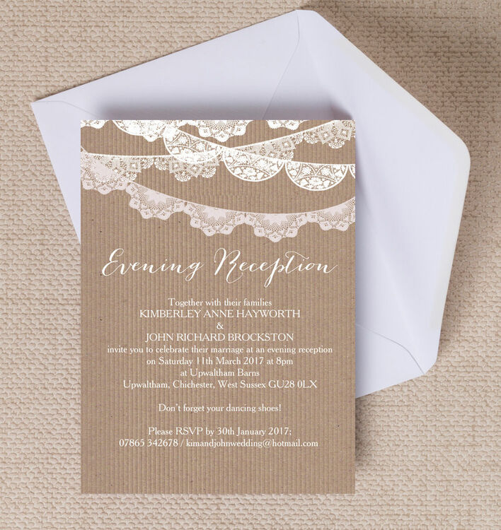 Rustic Lace Bunting Evening Reception Invitation from £0.85 each