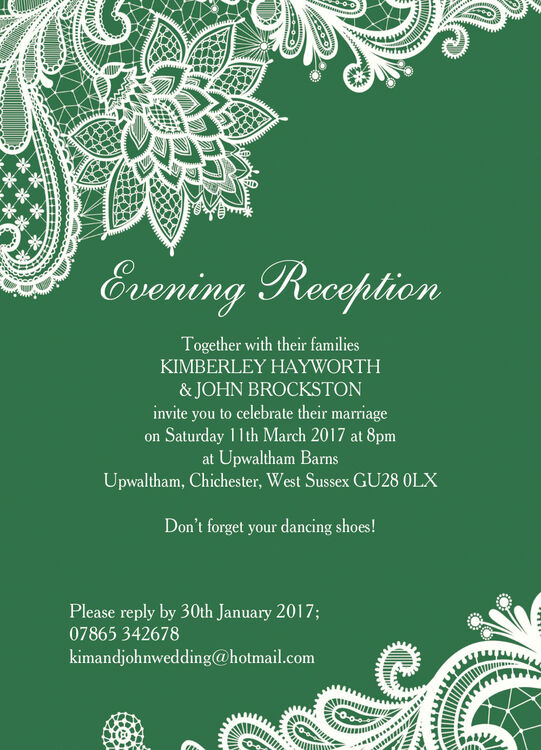 Romantic Lace Evening Reception Invitation From 163 0 85 Each