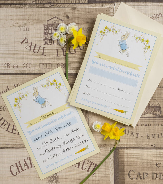 Pack of 10 Beatrix Potter Peter Rabbit Invitations from £6.99 each