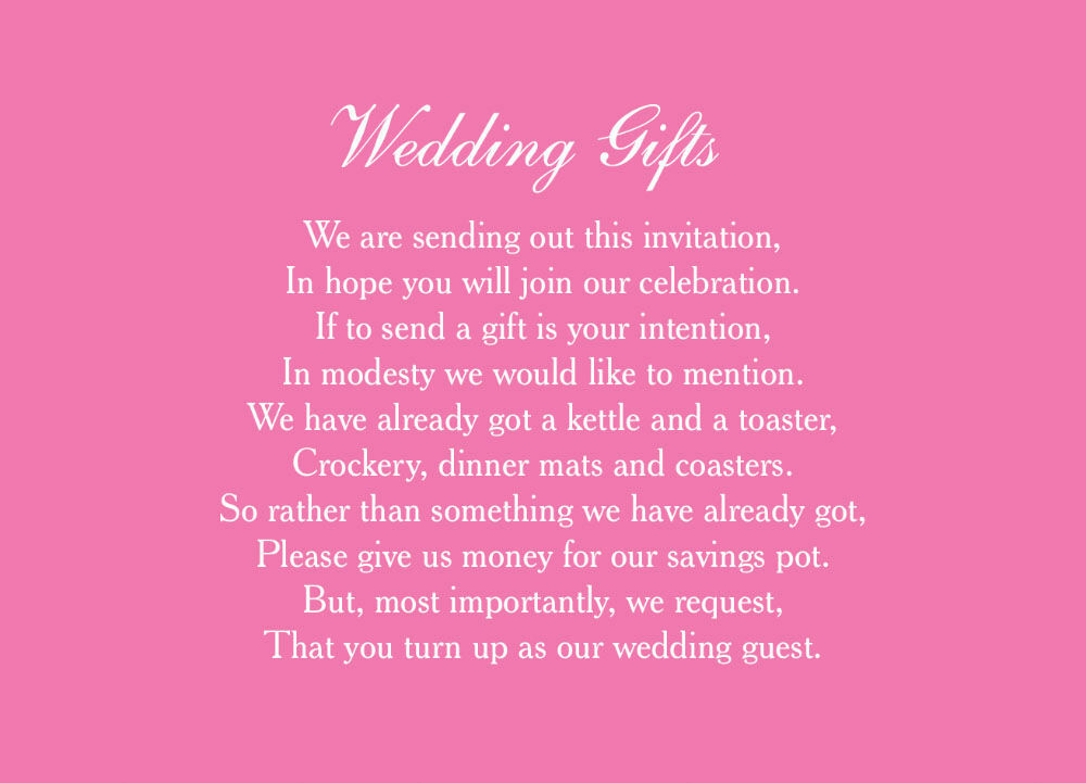 Wedding Gift Honeymoon: Classic Wedding Gift Wish Card From £0.40 Each