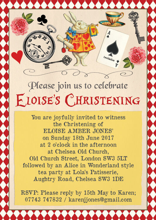 alice in wonderland christening    baptism invitation from