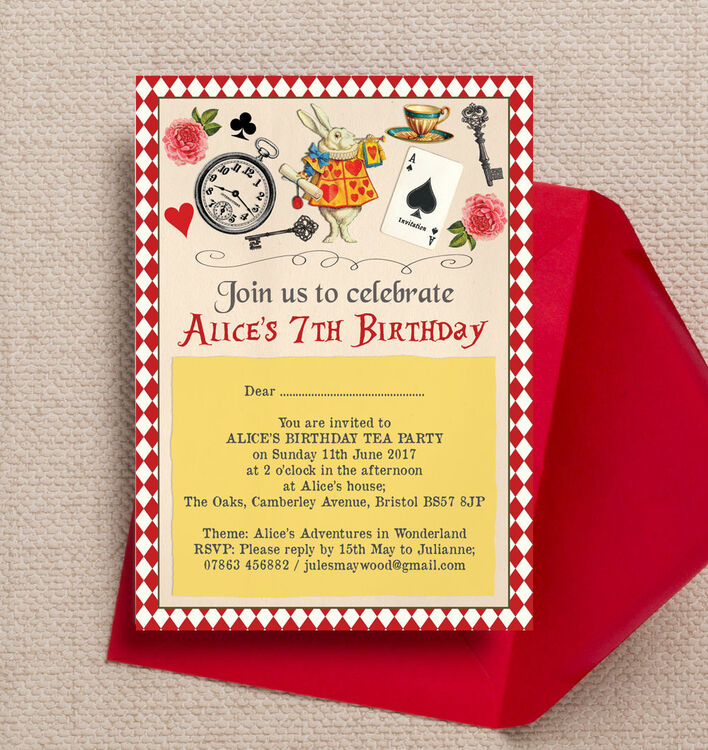 Alice in Wonderland Party Invitation from £0.80 each