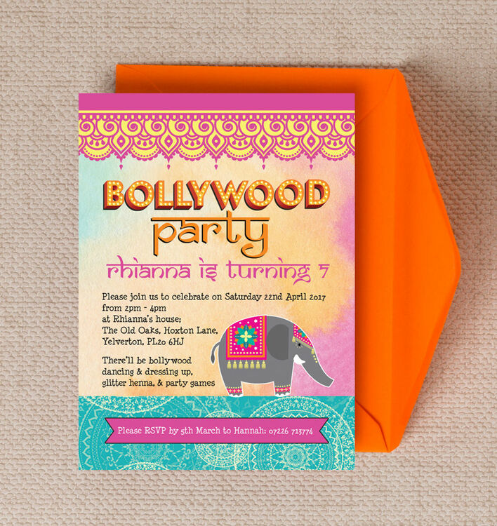 Bollywood Children\'s Party Invitation from £0.80 each