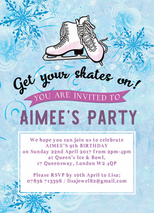 Ice Skating Birthday Party Invitation From 163 0 80 Each