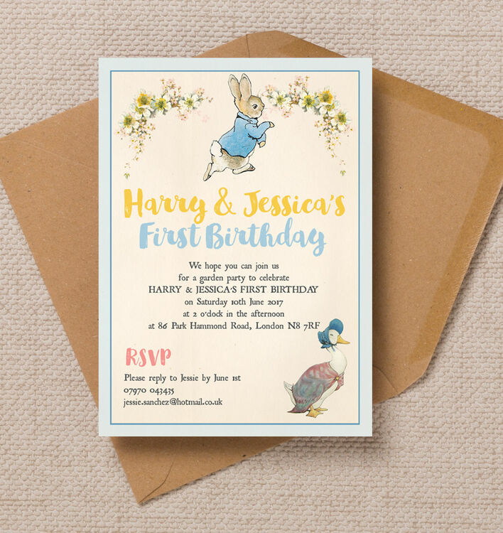 Peter Rabbit & Jemima Puddle Duck Party Invitation from £0.80 each