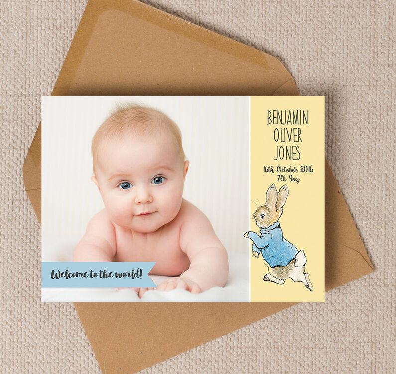 Beatrix Potters Peter Rabbit Photo Birth Announcement Card from – Photo Birth Announcement