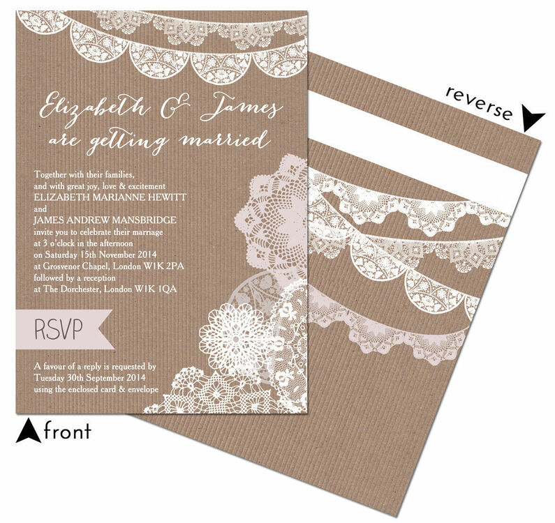 Rustic Lace Bunting Wedding Invitation From 100 Each
