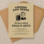 'Cheers & Beers' Retro 40th Birthday Party Invitation additional 1