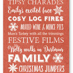 Personalised Typography Christmas Cards - Red additional 2
