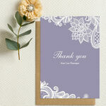 Personalised Lilac & White Lace Thank You Cards - Printable or Printed additional 1