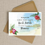 Tropical Beach Flowers Postcard Save the Date additional 4