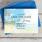 Tropical Beach Flowers Postcard Save the Date additional 1