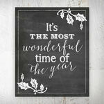 It's the Most Wonderful Time of the Year' Chalkboard Print - Printed or Printable additional 1