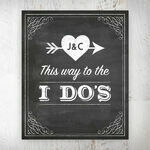 This Way to the I do's' Vintage Chalkboard Personalised Wedding Print additional 1