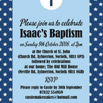 Navy Blue Stars Personalised Christening / Baptism Invitation additional 2