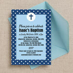 Navy Blue Stars Personalised Christening / Baptism Invitation additional 1