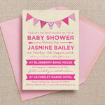 Vintage Pink Bunting Baby Shower Invitation additional 2