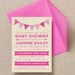 Vintage Pink Bunting Baby Shower Invitation additional 1