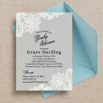 Grey & White Vintage Lace Baby Shower Invitation additional 2
