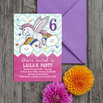 Rainbow Unicorn Party Invitation additional 2