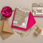 Rustic Lace Bunting Wedding Invitation additional 3