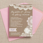 Rustic Lace Bunting Wedding Invitation additional 1
