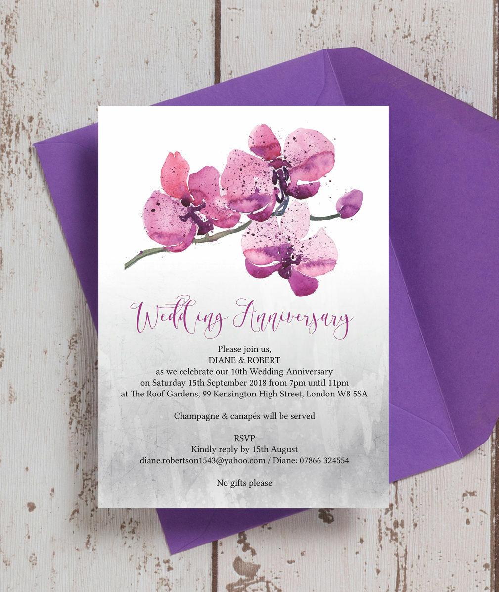 Personalised Purple Orchid Floral Wedding Anniversary Invitations ...