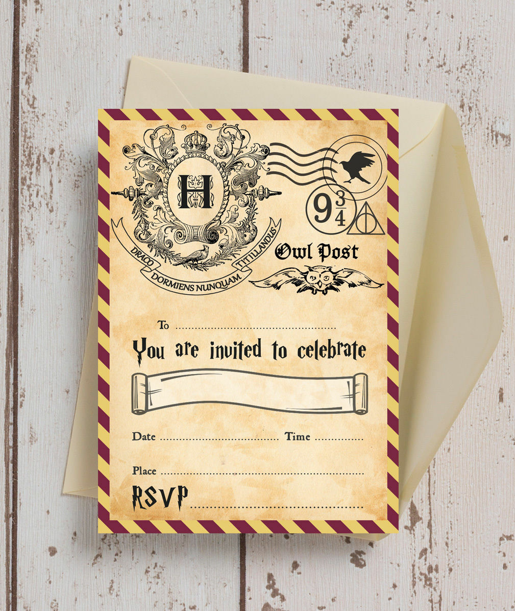 Pack of 10 Harry Potter Wizards Kids Teen Birthday Party Invitations ...