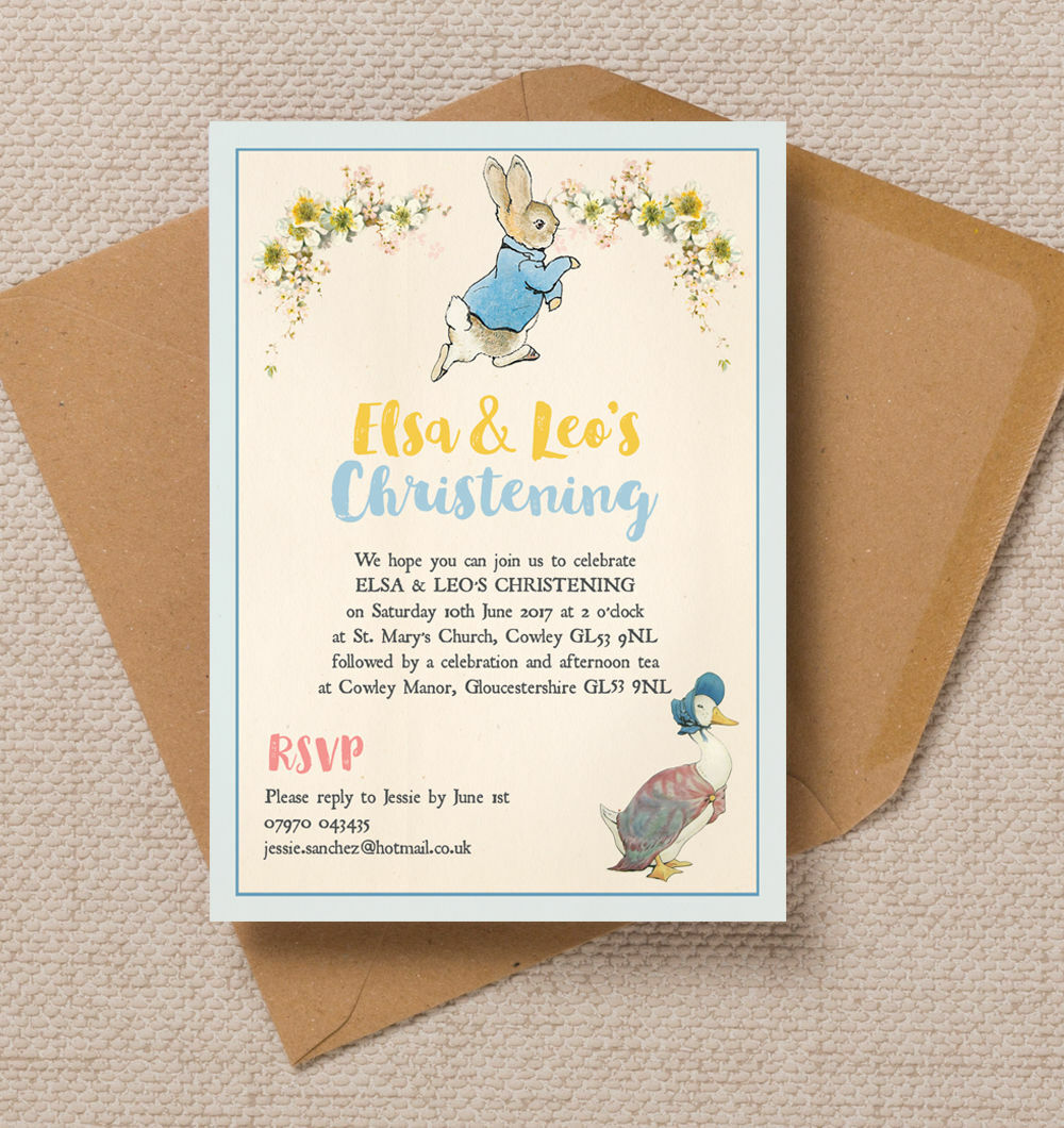Personalised jemima puddle duck peter rabbit christening baptism invite your guests to your little ones christening or baptism with this stunning invitation featuring beatrix potters best loved storybook characters stopboris Choice Image