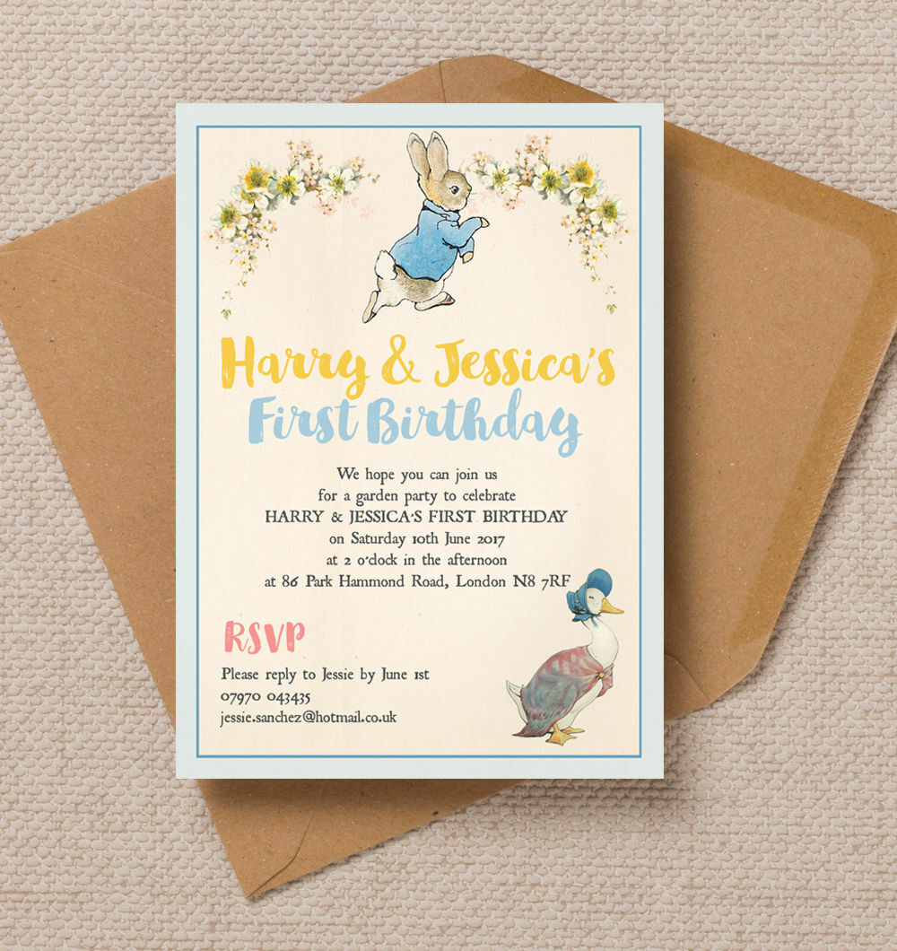 Personalised Jemima Puddle Duck Peter Rabbit Kids Birthday Party