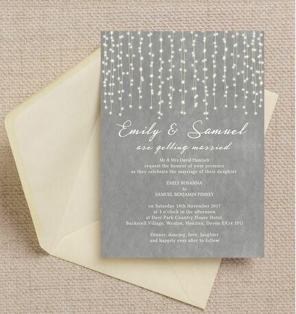 Dove Grey Fairy Lights Wedding Invitation