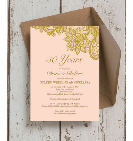 Gold Lace Inspired 50th Golden Wedding Anniversary Invitation