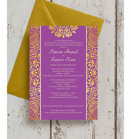 Purple mandala indian asian wedding invitation from gbp1 for Lavender avenue wedding invitations