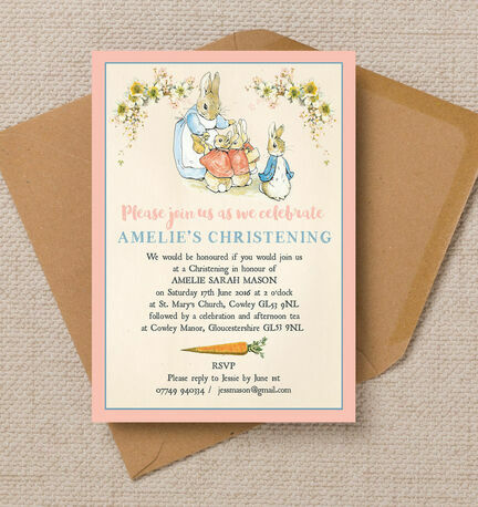 Flopsy Bunnies Beatrix Potter Christening / Baptism Invitation