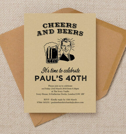 'Cheers & Beers' Retro 40th Birthday Party Invitation