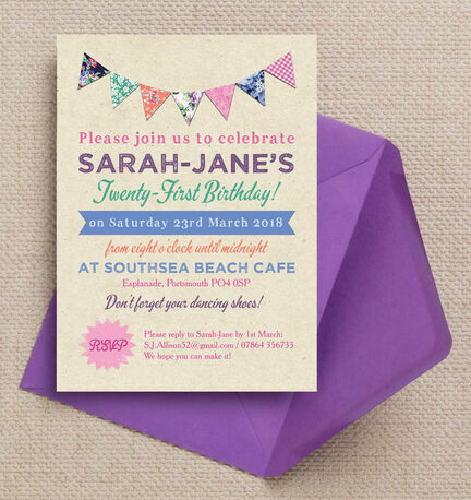 Rustic Colourful Bunting 21st Birthday Party Invitation from 125 – Invitations 21st Birthday Party