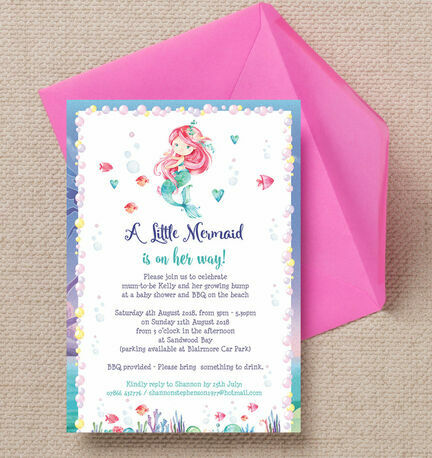 Mermaid Baby Shower Invitation from 080 each