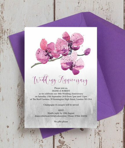 Orchid Flower 50th / Golden Wedding Anniversary Invitation from u00a31.25 each