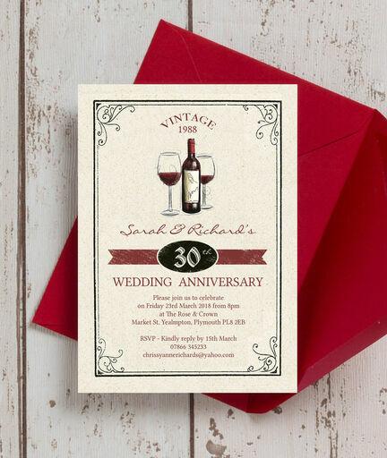 Vintage Wine Themed 30th Pearl Wedding Anniversary Invitation