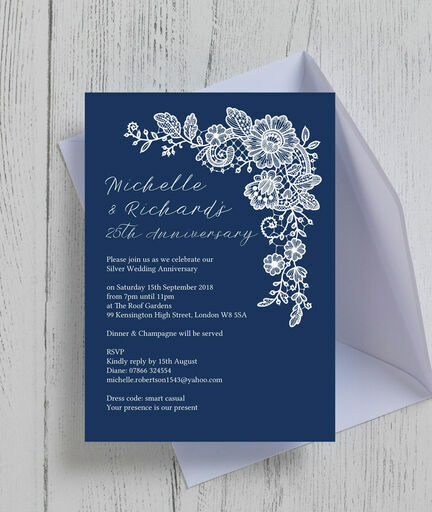 Navy blue floral lace 25th silver wedding anniversary for Navy and silver wedding invitations uk
