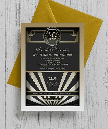 1920s Art Deco 50th / Golden Wedding Anniversary