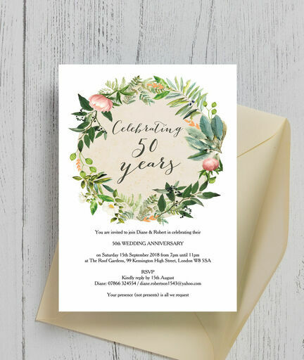 Flowers For Golden Wedding Anniversary: Floral Wreath 50th / Golden Wedding Anniversary Invitation