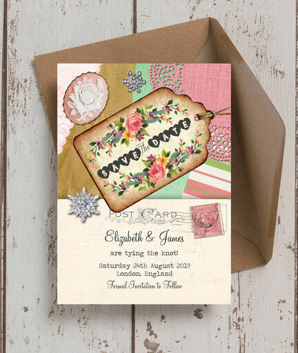 Vintage Trinkets Save the Date