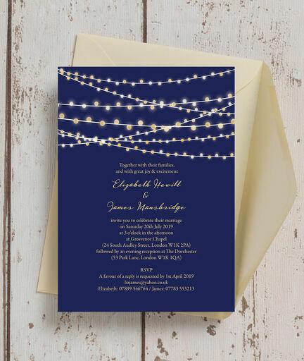 Navy Blue & Gold Fairy Lights Wedding Invitation From £1